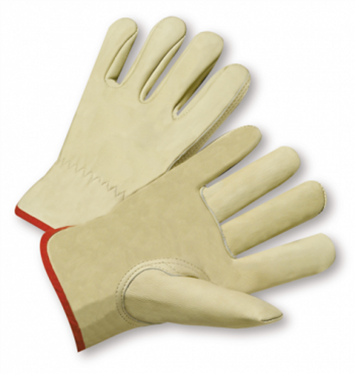 Grain cowhide leather driver glove, keystone thumb, shirred elastic wrist, gunn cut, cotton hem color coded for size