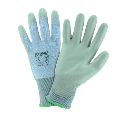 ANSI Cut Level 3 Gloves -  HPPE fiber shell - Grey Polyurethane coating