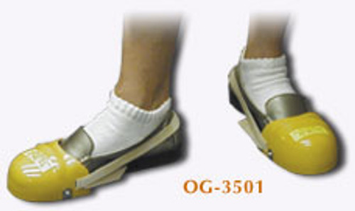 Pro-Tek-To 2' shoe caps slip easily over your own street shoe and strap firmly around the back of the heel. These are beneficial to the temporary employee or visitors to your plant. Pro-Tek-To 2' shoe guard meets the ANSI standard Z-41-1991 for 30 pounds of impact resistance.