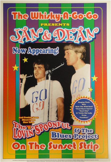 Jan & Dean +The Lovin' Spoonful Whisky a Go Go 13x19 UNSIGNED Poster