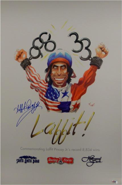 Laffit Pincay Jr Hand Signed Autographed 17x26 Photo Poster 8834 Wins! PSA/DNA