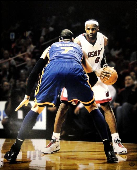 Lebron James UNSIGNED 16x20 Photo VS Carmelo Anthony Miami Heat VS Knicks UDA