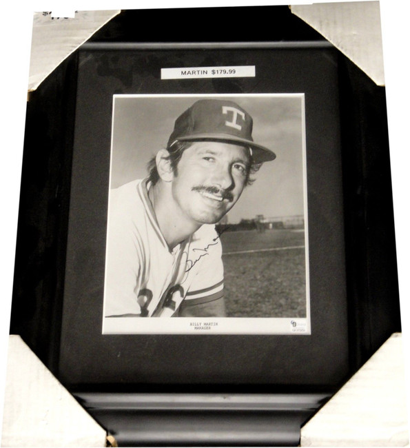 """Billy Martin Hand Signed Autographed Framed 8""""x10"""" Photograph Texas Rangers GAI"""