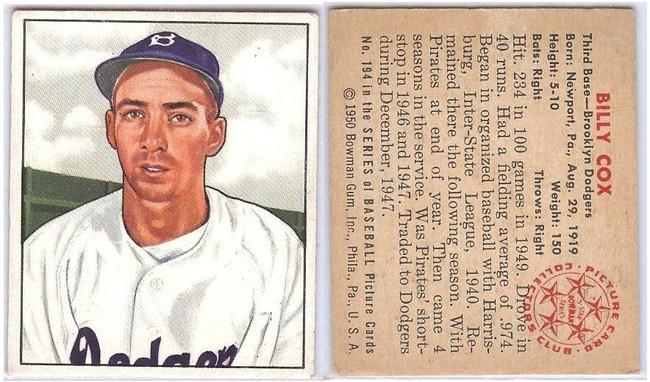 Billy Cox 1950 50 Bowman Vintage Card #194 Ex