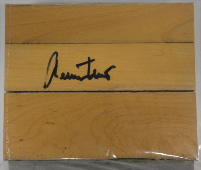 "Jerry West Hand Signed Autographed 6""x6"" Game Used Forum Floorboard PSA/DNA 7270"