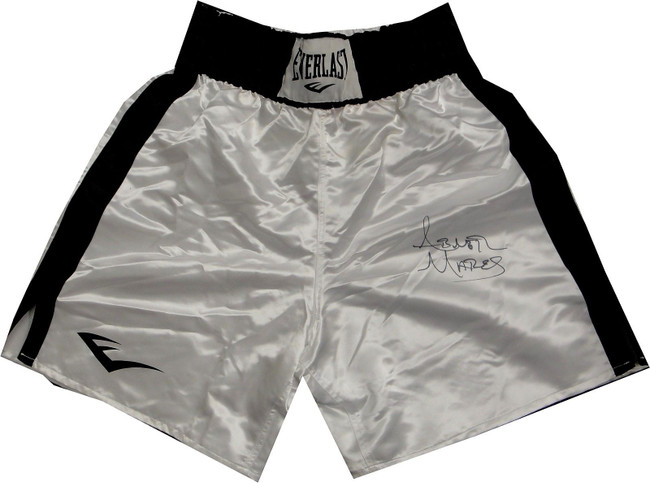 Abner Mares Hand Signed Autographed Everlast Boxing Trunks White Size  XXL