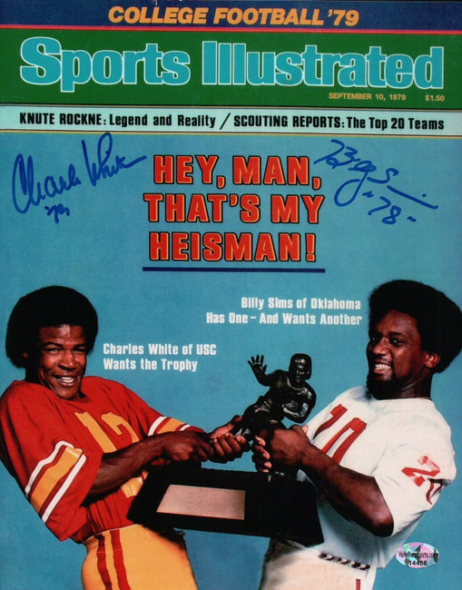 Charles White Billy Sims Dual Signed 8X10 Photo Autograph Heisman Trophy w/COA