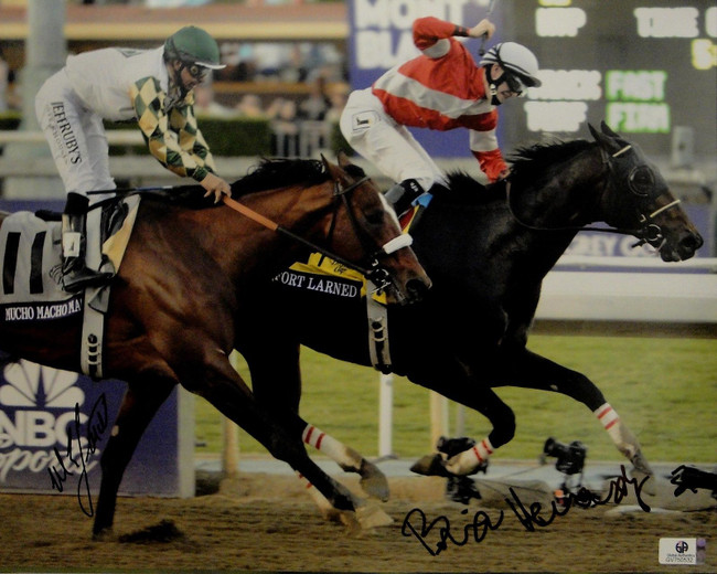 Mike Smith Brian Hernandez Hand Signed Autographed 11x14 Photo Horse GA 750532
