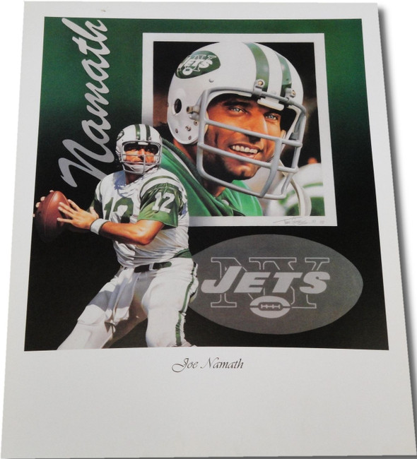 "Joe Namath UNSIGNED 18""x24"" Print New York Jets Brodway Joe #12 Dual Action Pose"