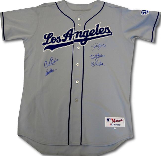 Baker Erskine Steve Yeager Bob Welch Hansen Signed Autographed LA Dodgers Jersey