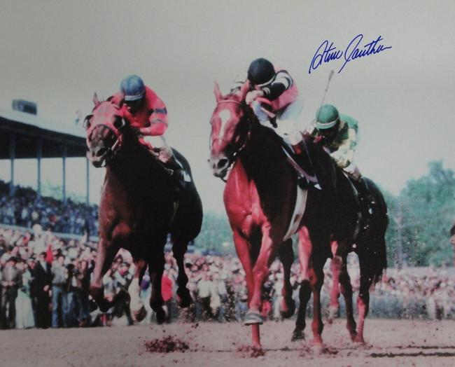 Steve Cauthen Autographed 16x20 Photograph Triple Crown Affirmed Racing Blue