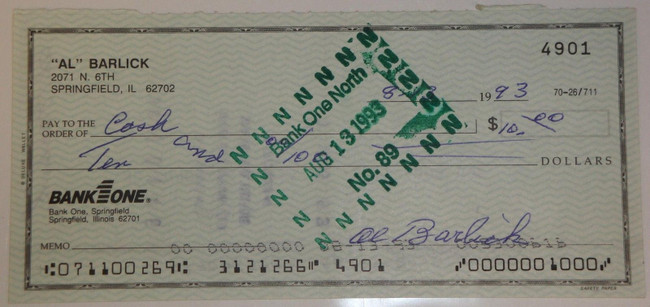 Al Barlick Hand Signed Autographed Personal Check # 4901