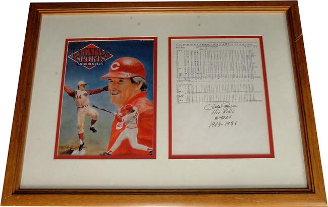Pete Rose Hand Signed Auto Framed Dual 8x10 Photographs Cincinnati Reds W/ Stats