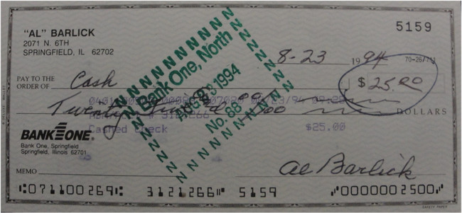 Al Barlick Hand Signed Autographed Personal Check Payable To Cash $25 5159