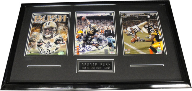 Reggie Bush Hand Signed Autographed 8x10 Framed Photo W/ 2 8x10's Saints PSA/DNA