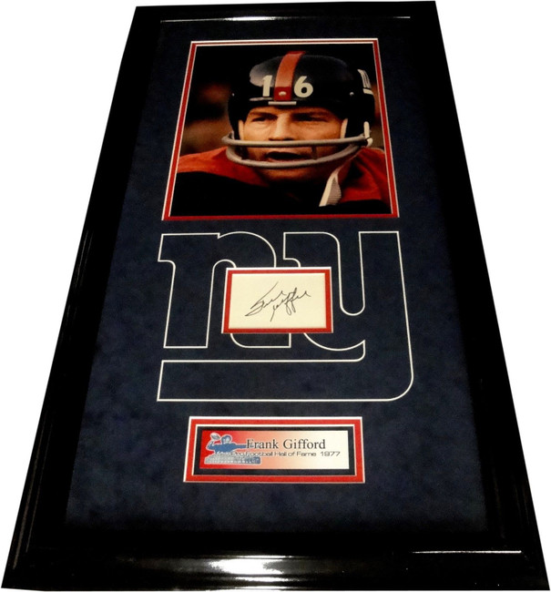 Frank Gifford Hand Signed Autographed Cut Custom Framed With Photo & Plate