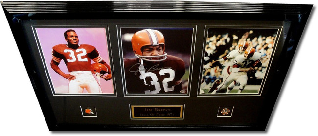 Jim Brown Hand Signed Custom Framed 8x10 Photo Framed with 2 Unsigned 8x10 COA