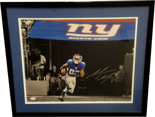 Mario Manningham Signed Autographed 16x20 Custom Framed Photo NY Giants JSA