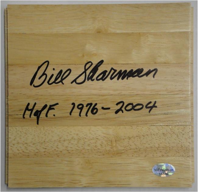 Bill Sharman Hand Signed Piece of Wood Floorboard HOF 1976-2004 Celtics Lakers