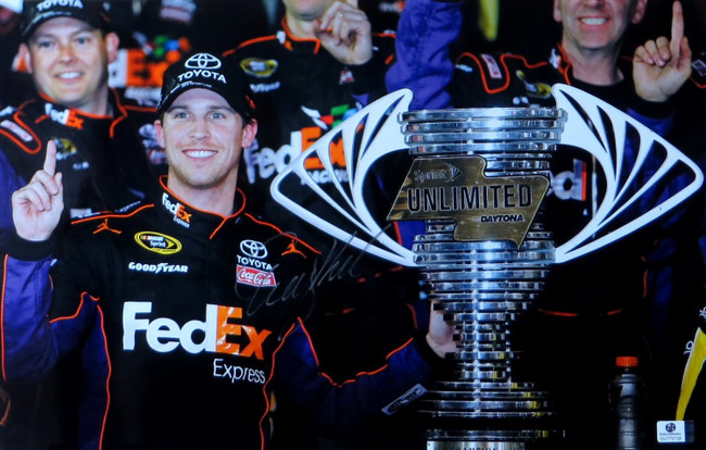 Denny Hamlin Signed Autographed 11X17 Photo Sprint Unlimted Trophy GV775738