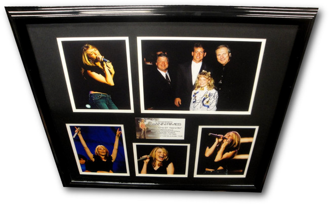 LeAnn Rimes Hand Signed 11x14 Photo Framed With Original Photos 2003 Superbowl