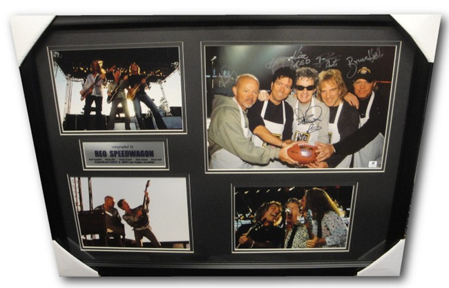 REO Speedwagon Signed 11x14 Photo Custom Framed Super Bowl Photo 2003 Cronin