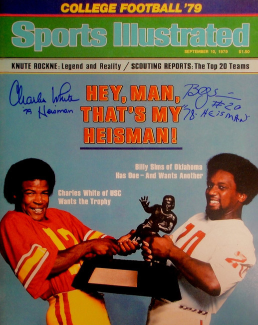 Charles White Billy Sims Dual Signed Autographed 16x20 Photo Heismsan 78 JSA