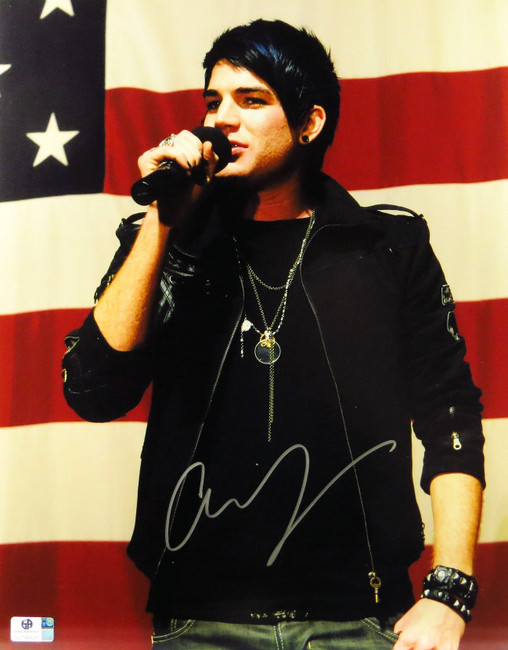 Adam Lambert Signed Autographed 11X14 Photo Singing in front of US Flag GV796626