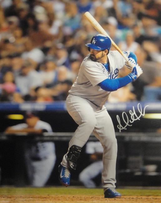 Adrian Gonzalez Hand Signed Autographed 16x20 Photo Los Angeles Dodgers Bat Silv
