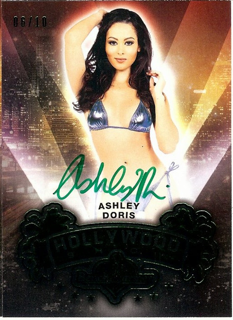 Ashley Doris 2015 Benchwarmers Hollywood Show Green Auto Autograph 06/10