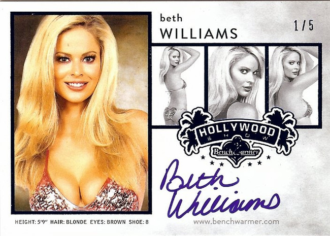 Beth Williams 2015 Benchwarmers Hollywood Show Blue Composite Auto Autograph 1/5