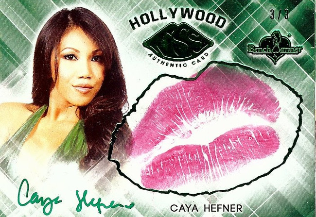 Caya Hefner 2015 Benchwarmers Hollywood Green Kiss Card Autograph Sexy 3/3