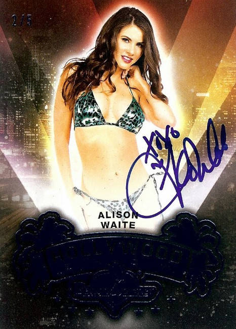 Alison Waite 2015 Benchwarmers Hollywood Show Blue Auto Autograph Sexy 2/5