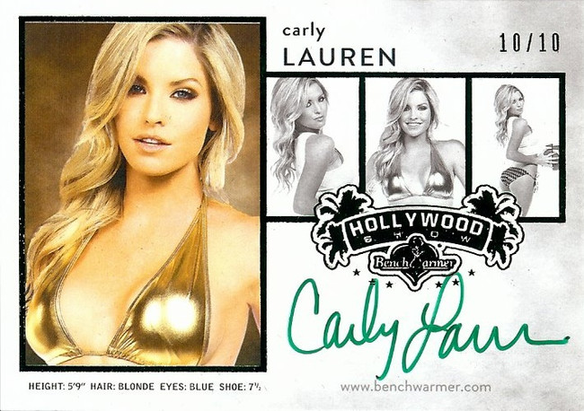Carly Lauren 2015 Benchwarmers Hollywood Composite Green Autograph 10/10