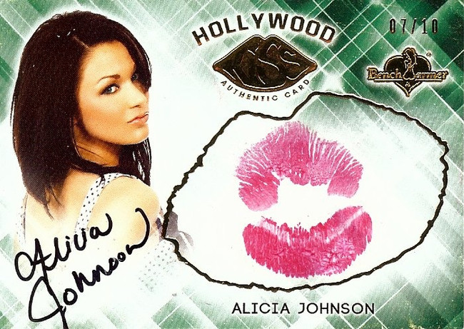 Alicia Johnson 2015 Benchwarmers Hollywood Gold Kiss Card Autograph Sexy 07/10