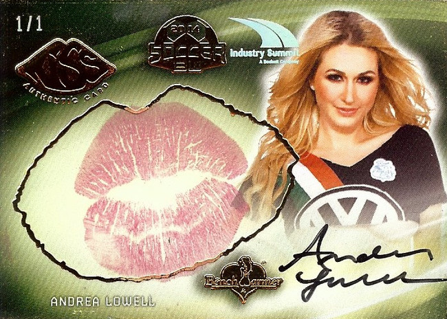 Andrea Lowell 2015 Benchwarmers Industry Summit Soccer Kiss Card Autograph 1/1