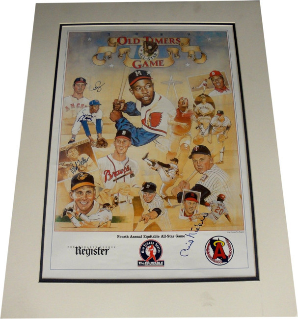 Ernie Banks Phil Niekro Bob Feller Hand Signed Autographed 18x20 Matted photo