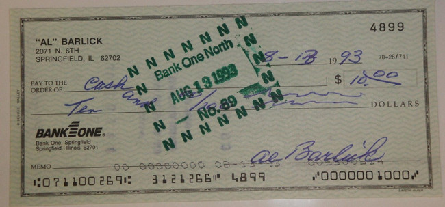 Al Barlick Hand Signed Autographed Personal Check # 4899