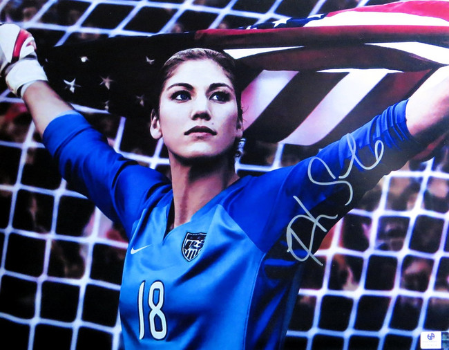Hope Solo Signed Autographed 11X14 Photo In Goal Holding USA Flag GV806541