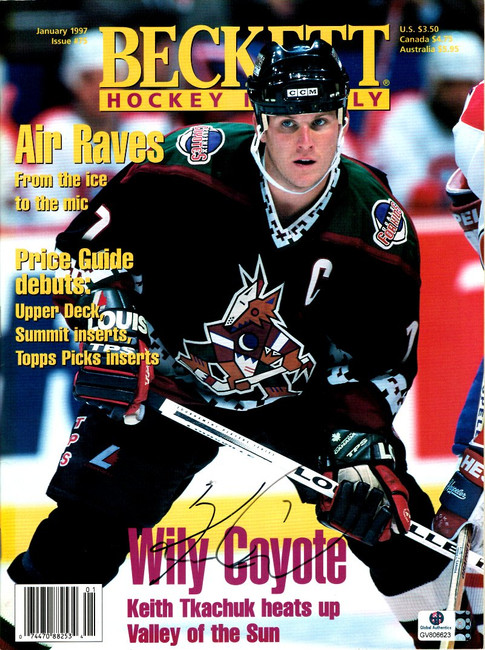 Keith Tkachuk Hand Signed Autographed Hockey Beckett Magazine 1997 GA GV 806623