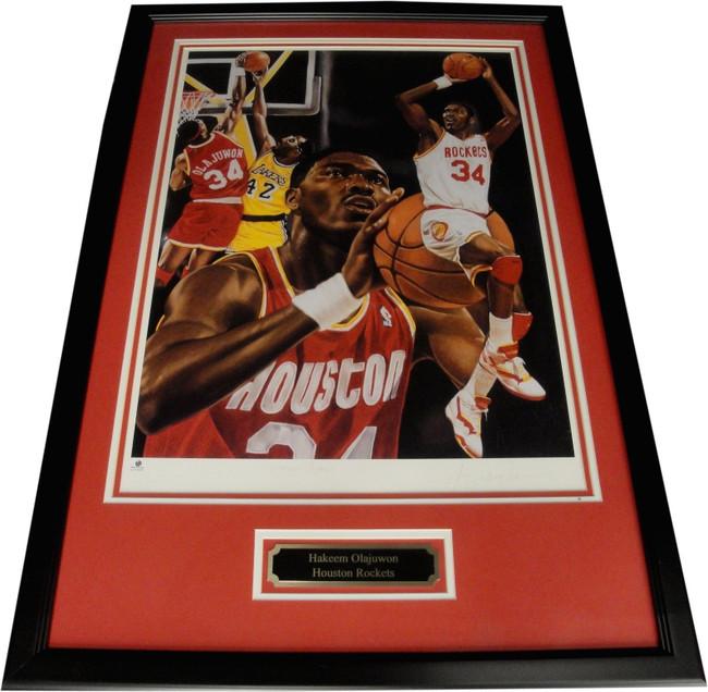 "Hakeem Olajuwon Hand Signed Autograph 18""x24"" Photo Framed Rockets GAI"