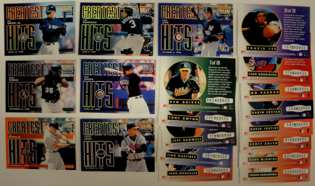 1998 Leaf Rookie Stars Greatest Hits Set 20 Cards Griffey Jr Frank Thomas /2500