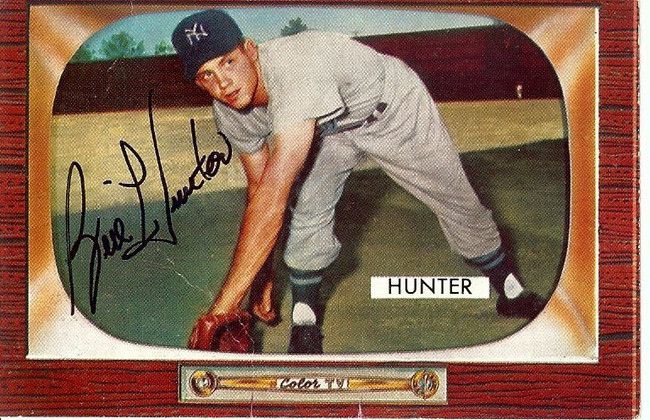 Bill Hunter Signed Autographed Baseball Card 1955 Bowman Yankees #69 COA