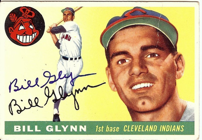 Bill Glynn Signed Autographed Baseball Card 1955 Topps Indians #39 COA
