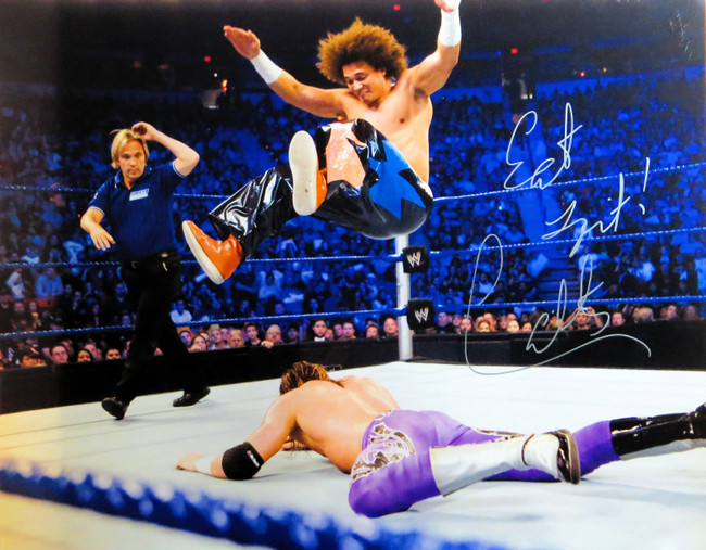 Carly Colon Signed Autographed 16X20 Photo WWE WWF In Air During Match COA