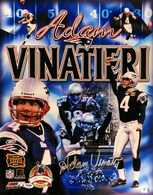 Adam Vinatieri Signed Autographed 16X20 Super Bowl XXXVIII Collage PSA GV822648