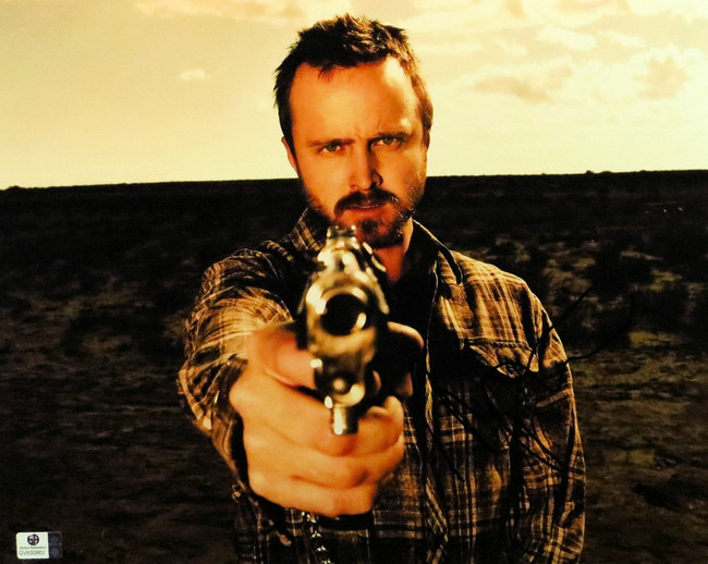Aaron Paul Signed Autographed 11X14 Photo Breaking Bad Aiming Gun GV830862