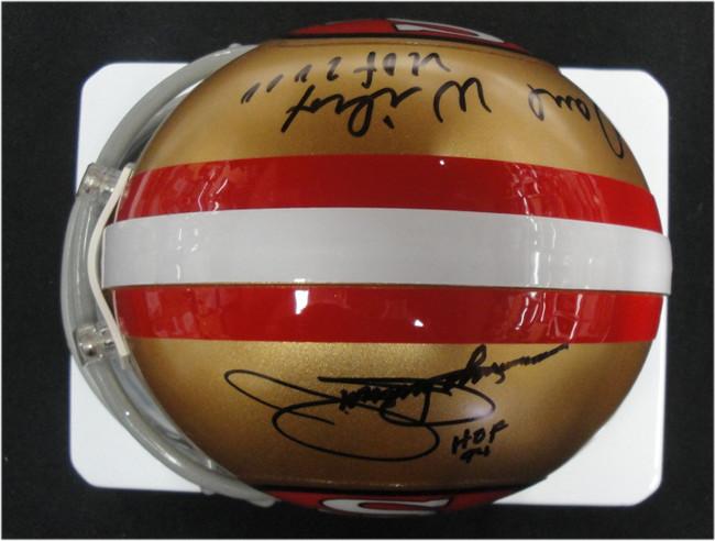 Dave Wilcox Jimmy Johnson Dual Signed Autograph Mini Helmet San Francisco 49ers