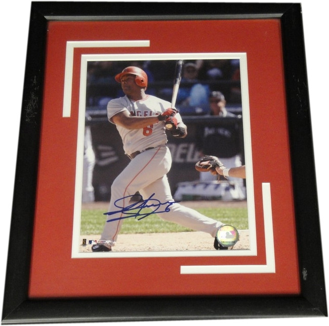 Jose Guillen Hand Signed Autographed 8x10 Custom Framed Photo W/ Scratches