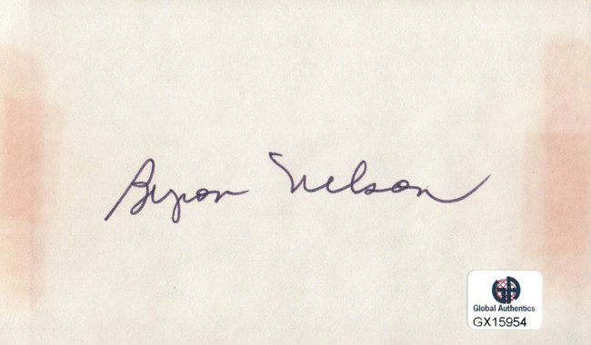 Byron Nelson Signed Autographed Index Card PGA Golf Legend Masters GX15954